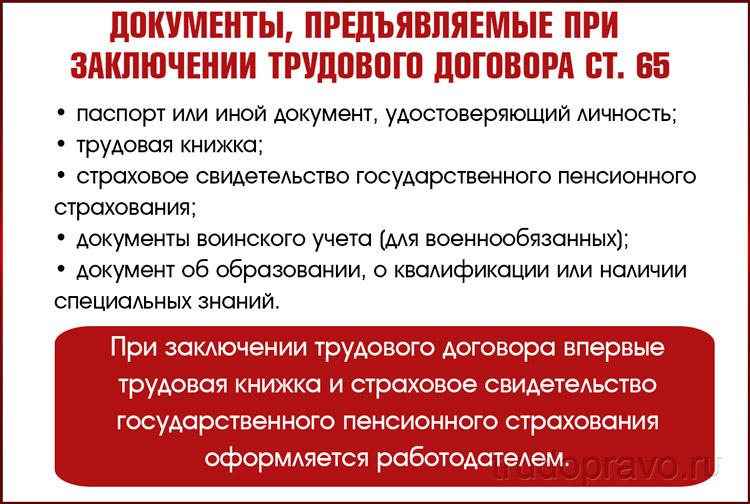 Документы, предъявляемые при заключении трудового договора ст. 65