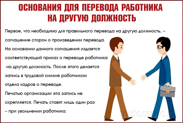 Основания для перевода работника на другую должность